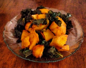 my warm kale and butternut squash salad! A good source of carbohydrates!