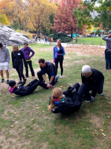 the end of the relay race - 20 sit ups