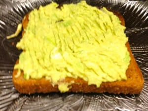 mashed avocado on toast (also amazing on its own!)