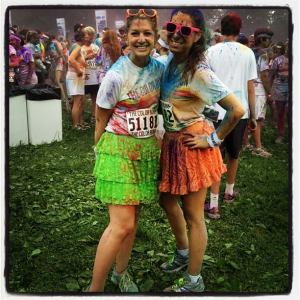 My friend Casey and Me after the Color Run in Philly this past summer. Worth the three showers it took to finally get all of the paint out of my hair!