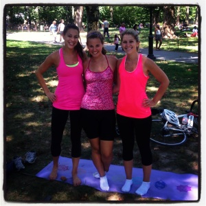 Pilates in the Park with my friends, Alli and Casey (last summer)