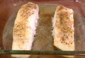 Baked halibut - ready to top with the pineapple salsa!