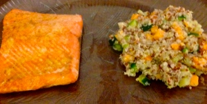 I ate my baked salmon with quinoa and mixed veggies!