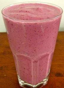 My Very Berry Smoothie (just frozen berries, Greek 0% fat plain yogurt, ice and a touch of honey!)