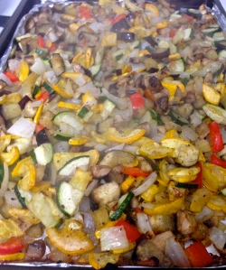 Roasted veggies - ready to mix into the sauce!