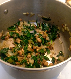 Sautéed kale, onions and mushrooms. Now just add the rest, bring to a boil and simmer!