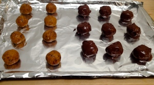 1/2 chocolate dipped, 1/2 plain pb balls!