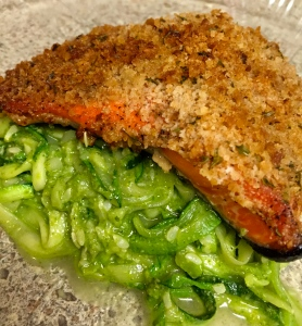 I served my pesto with zucchini noodles and baked salmon