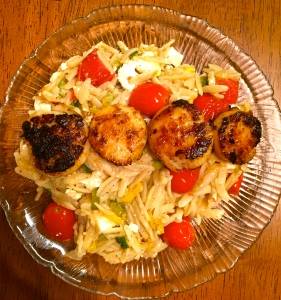 seared scallops over my whole wheat orzo salad!