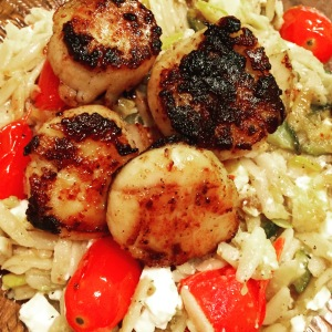 I served seared scallops over my orzo salad! That recipe will be posted on FuelMyFIt, too!