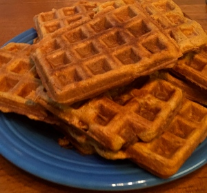 Pile of protein-packed, pumpkin waffles, pre-toppings!