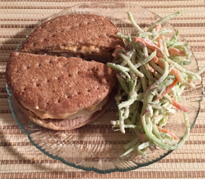 I served my coleslaw with a homemade turkey burger!
